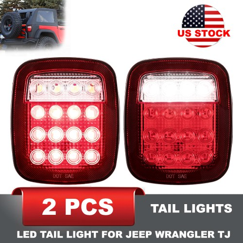 small resolution of details about jeep wrangler tj cj led tail light rear light brake reverse turn signal