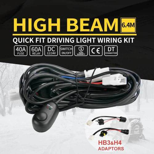 small resolution of details about led light wiring loom harness relay kit driving lamp plug quick fit high beam