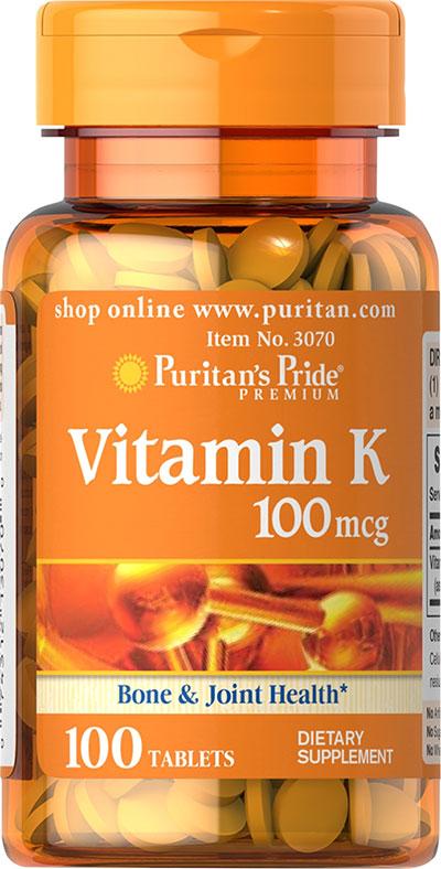 Puritan's Pride Vitamin K 100 mcg 100 Tablets Bone Mass ...