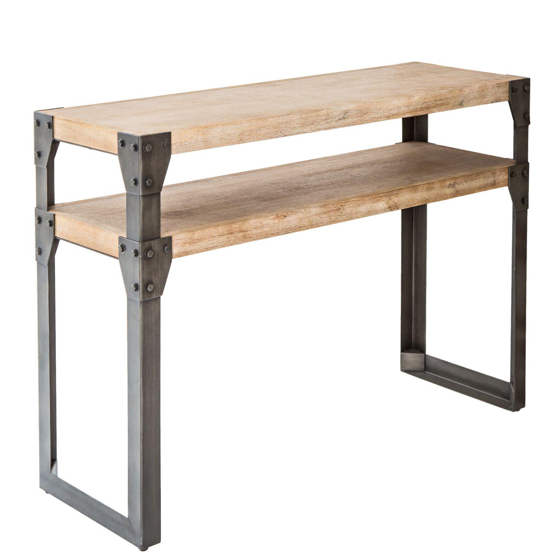 details sur bartisch industrie design 120x85x40cm bois metal table haute de bar cuisine
