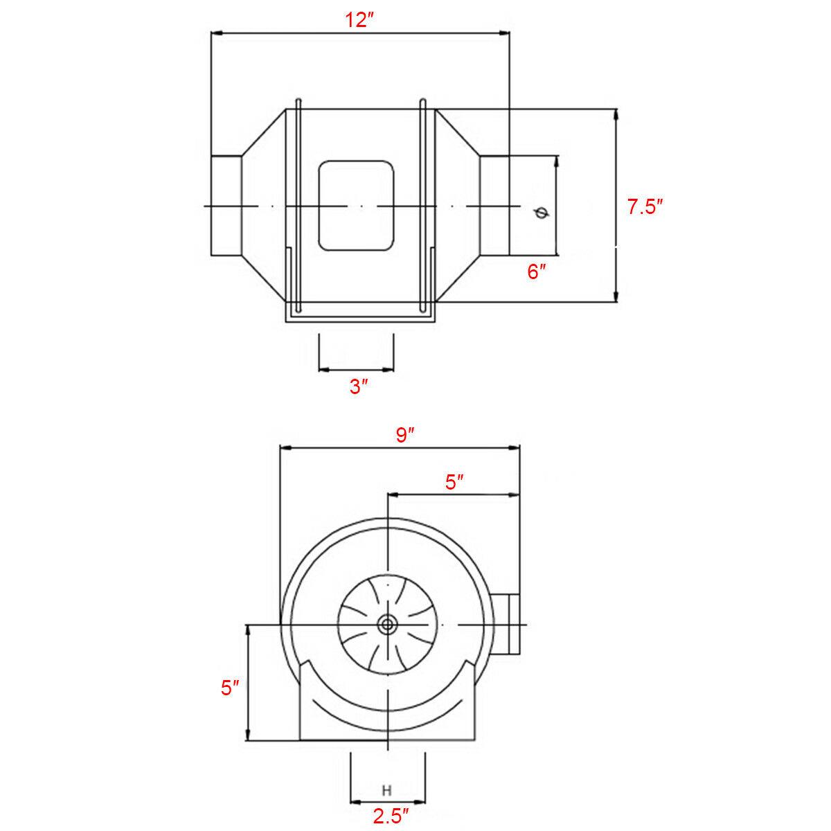 4 6 8 Inch Inline Duct Fan Ventilation Exhaust Plastic