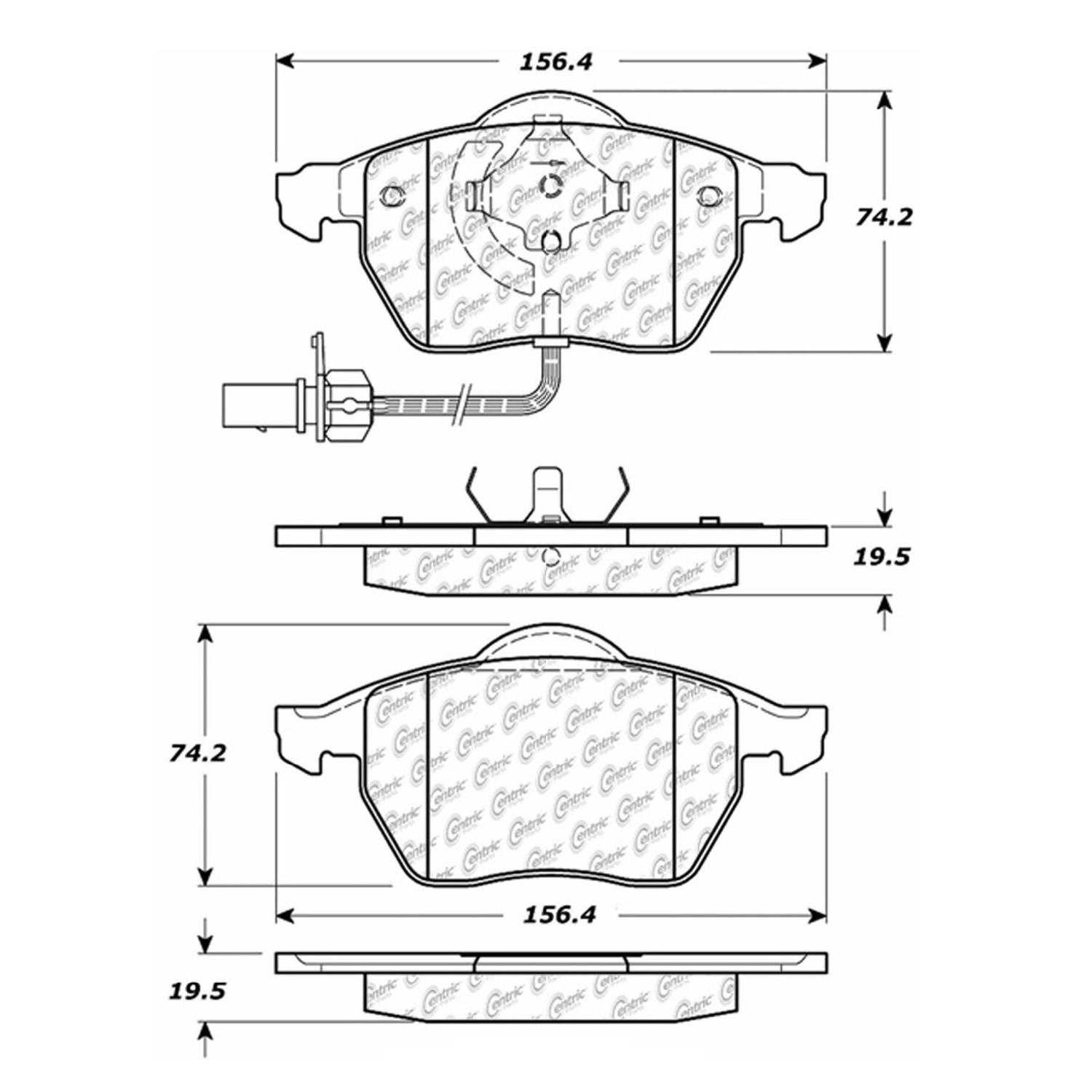 Centric Parts Brake Pads Front Rear For 2001 Audi A4