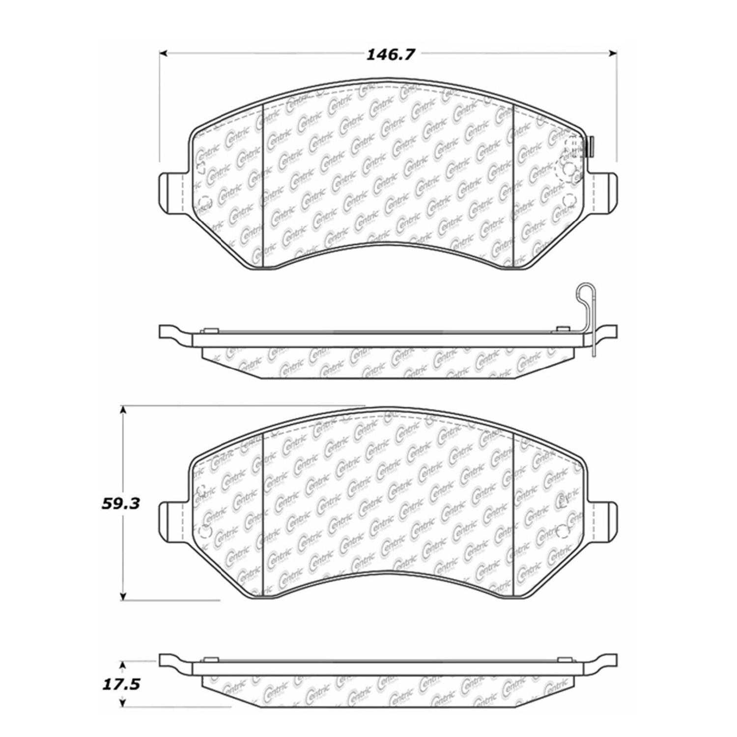Centric Parts Brake Pads Front Rear For 2005 Jeep Liberty