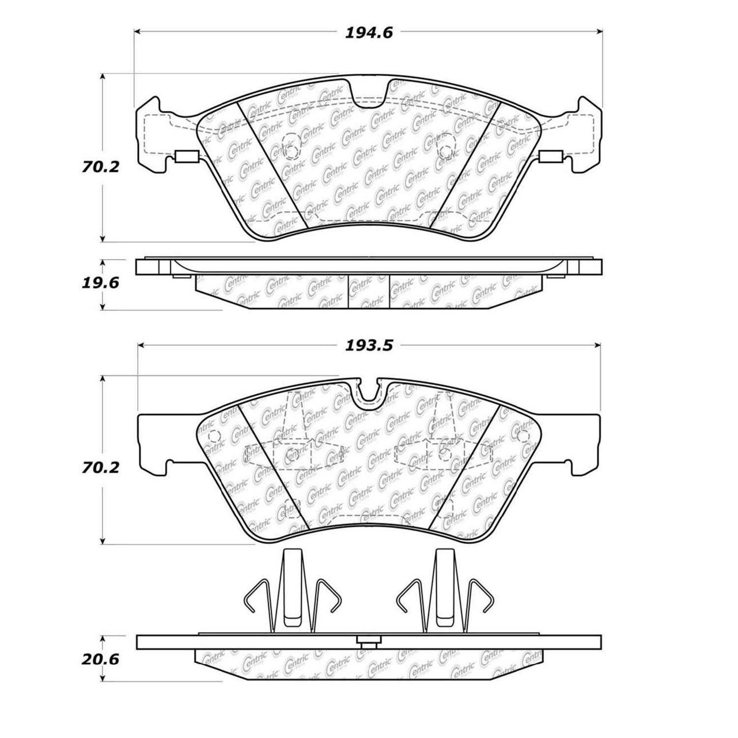 Centric Parts Brake Pads Front Rear For 2007-2009 Mercedes
