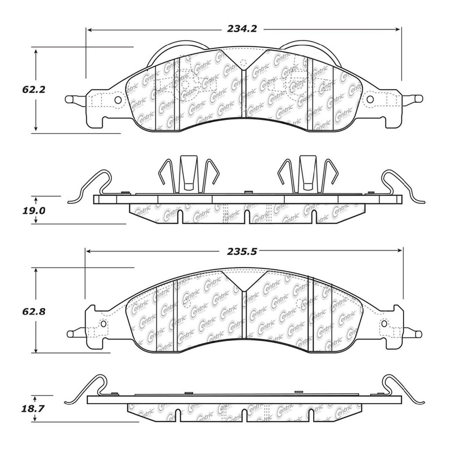 Centric Parts Brake Pads Front Rear For 2008-2009 Ford