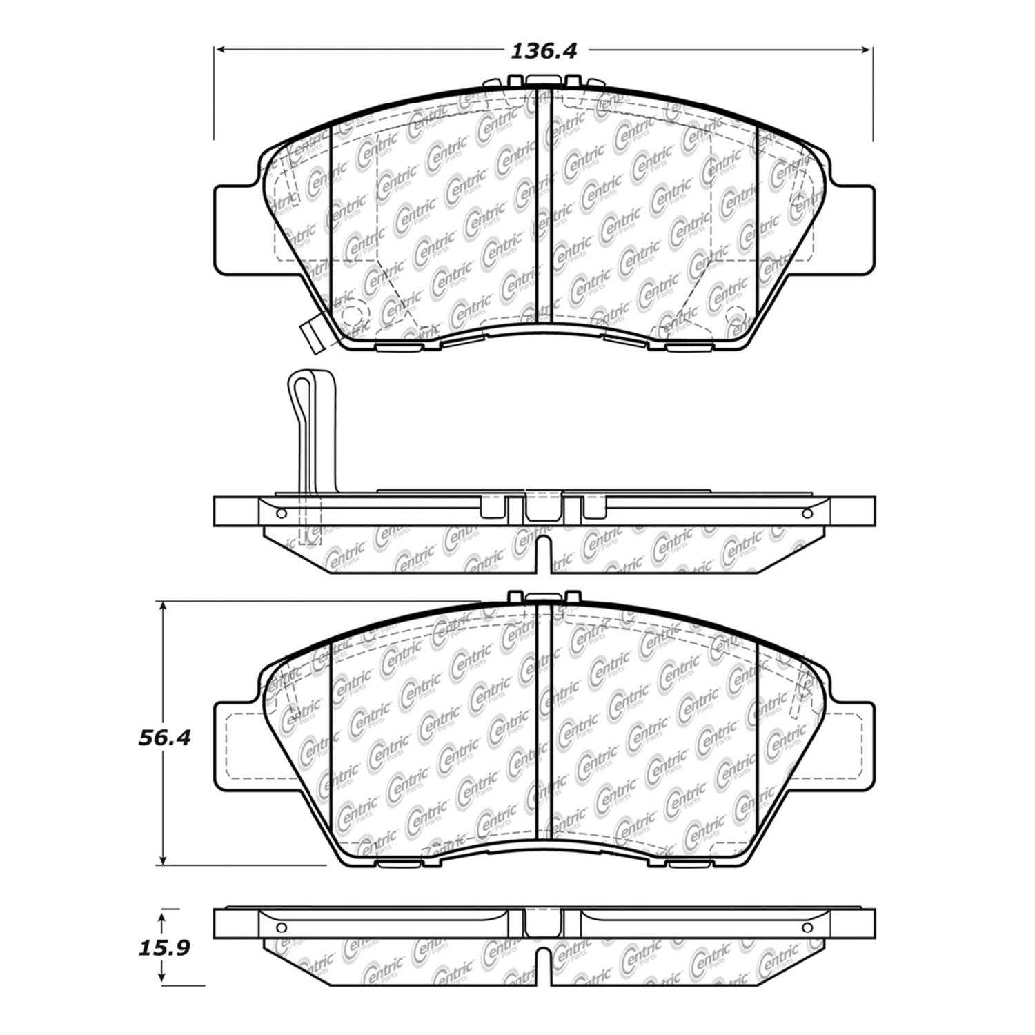 Centric Parts Brake Pads Front Rear For 2010-2013 Honda