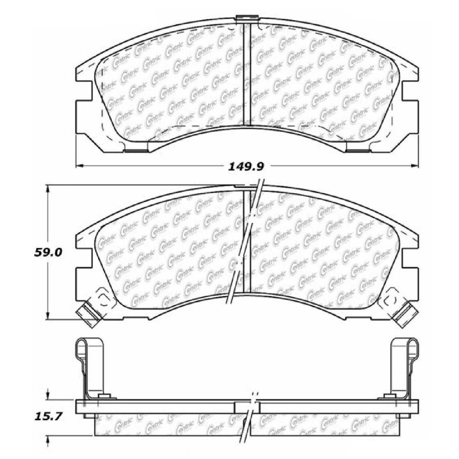 Centric Parts Brake Pads Front Rear For 2005-2006