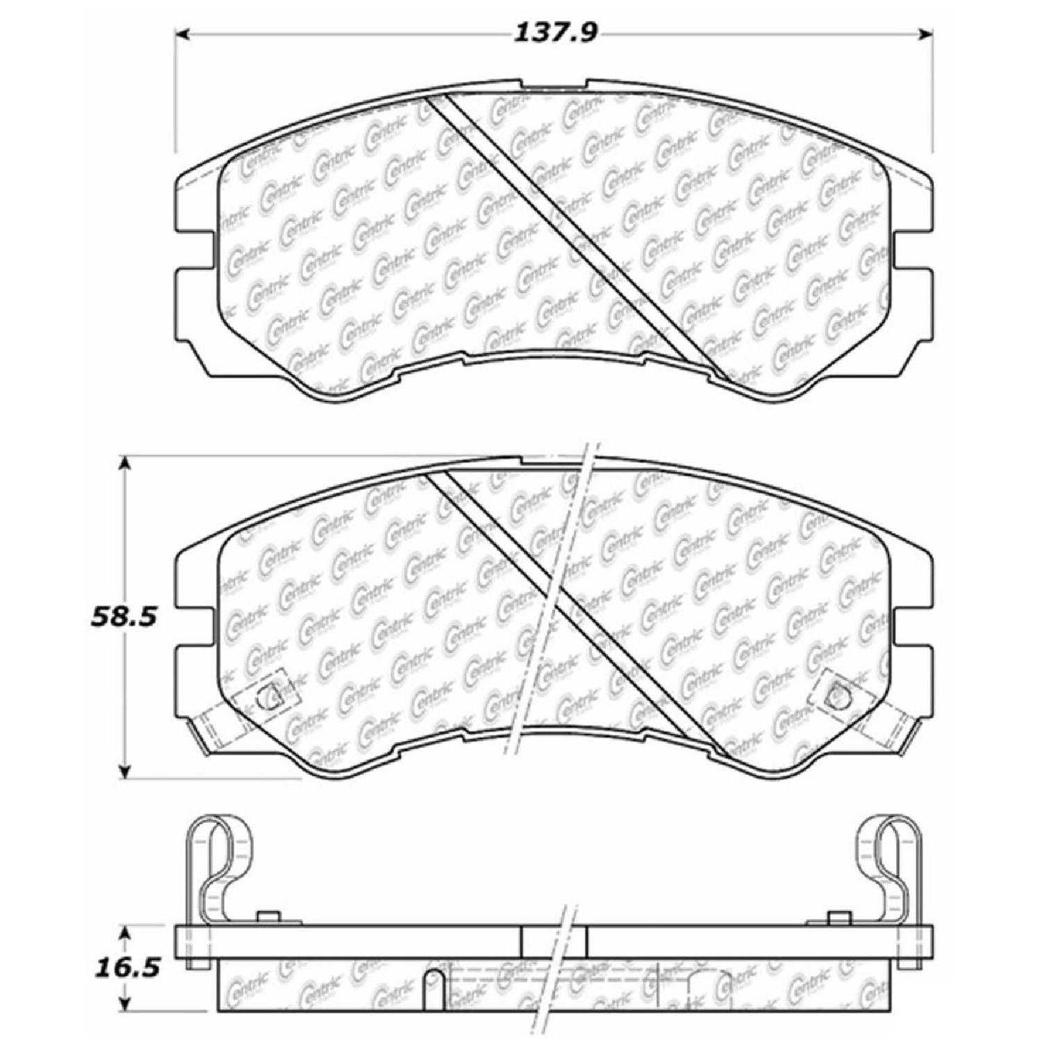 Centric Parts Brake Pads Front Rear For 95,2000-2002 Isuzu