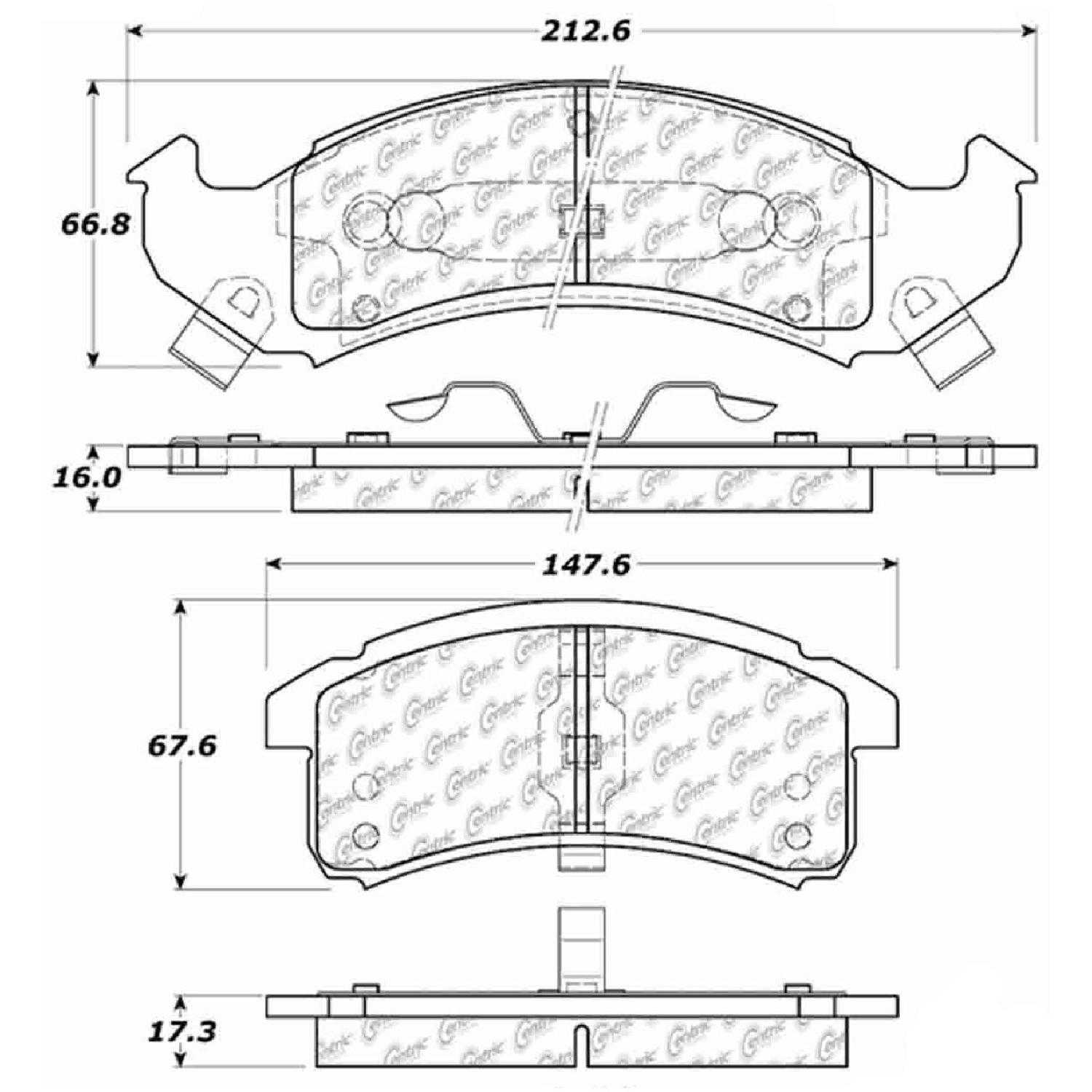 Centric Parts Brake Pads Front Rear For 94 Pontiac