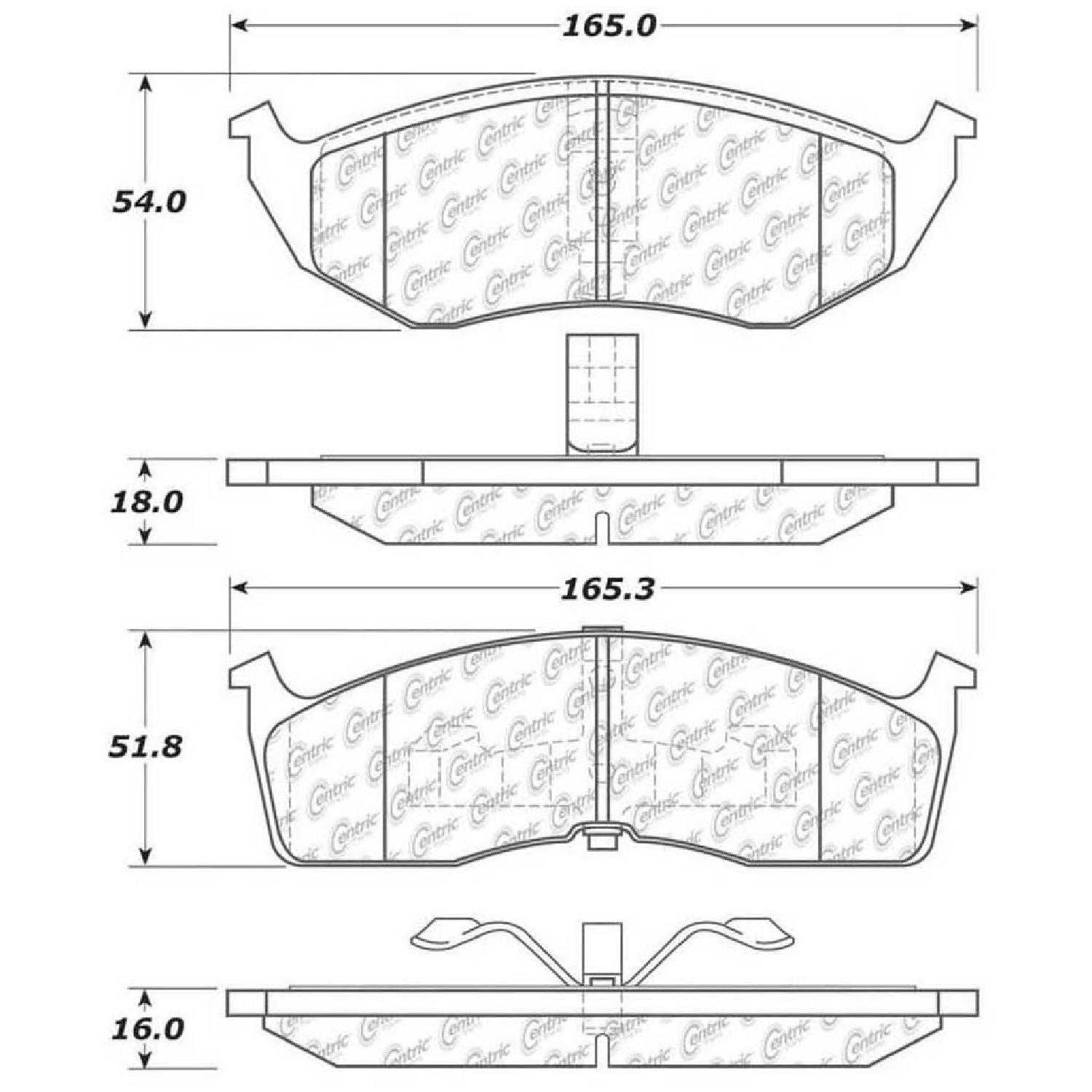 Centric Parts Brake Pads Front Rear For 98-2000 Dodge