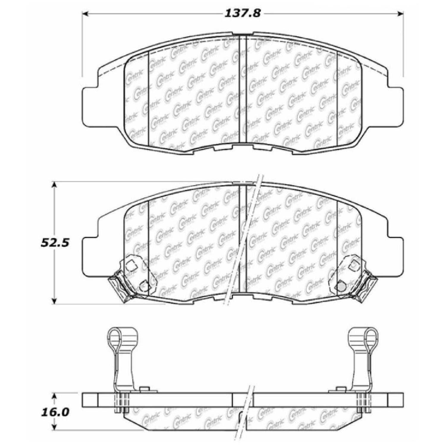 Centric Parts Brake Pads Front Rear For 99-2000 Honda
