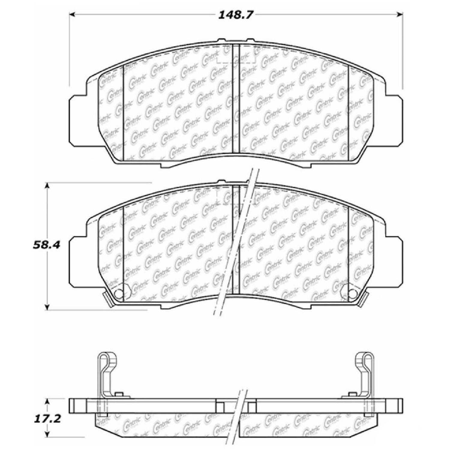 Centric Parts Brake Pads Front Rear For 99-2004 Acura RL