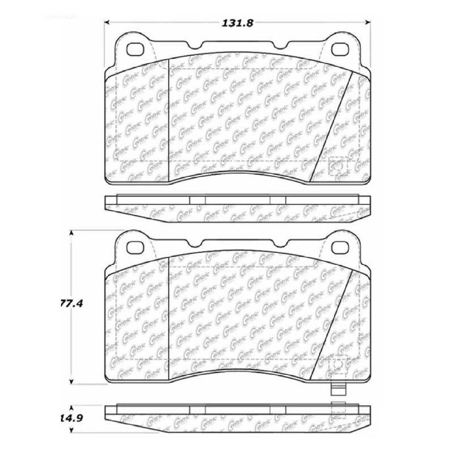 Centric Parts Brake Pads Front Rear For 2012-2013 Ford