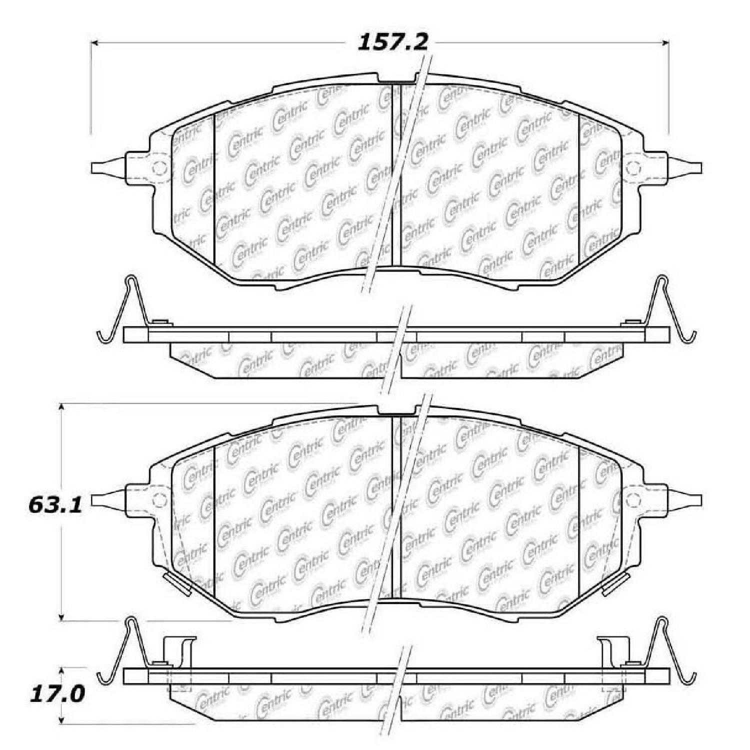 Centric Parts Brake Pads Front Rear For 14,16-17 Subaru