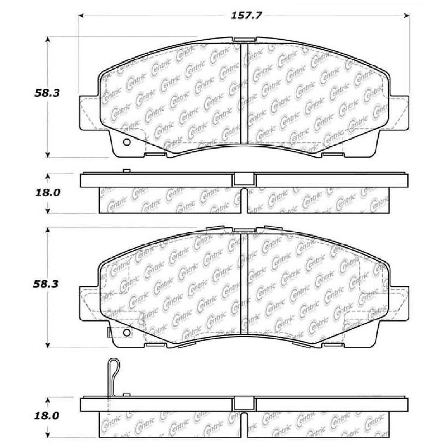 Centric Parts Brake Pads Front Rear For 08-11 Honda