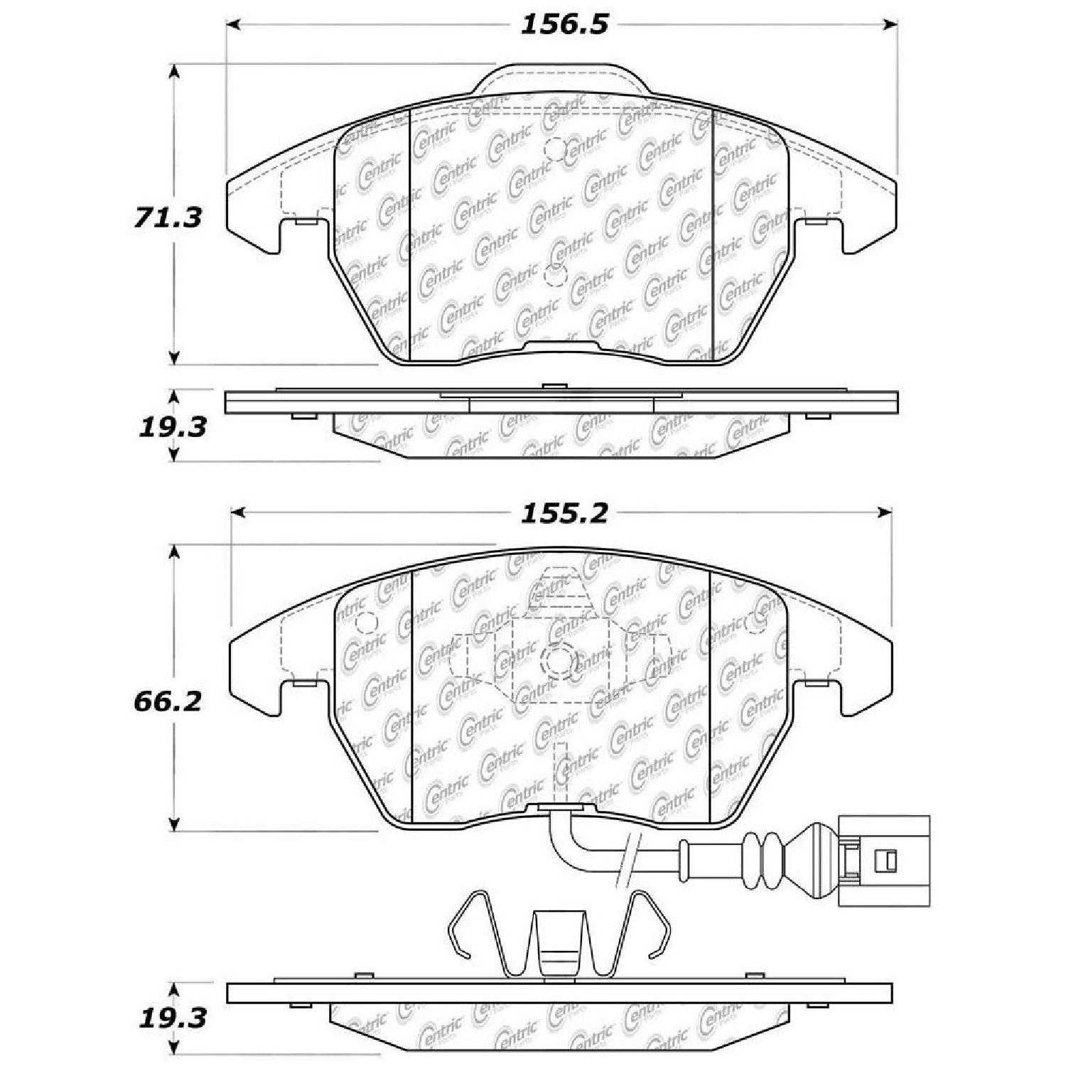 Centric Parts Brake Pads Front Rear For 11 Audi A3 Quattro