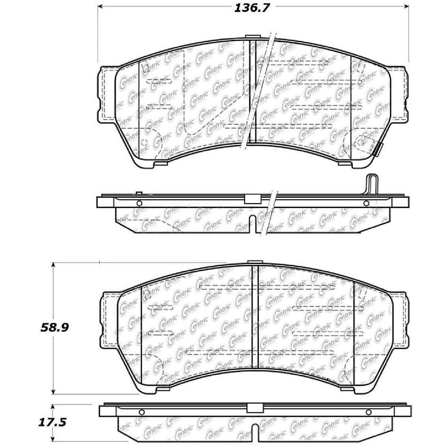 Centric Parts Brake Pads Front Rear For 06-11 Mercury