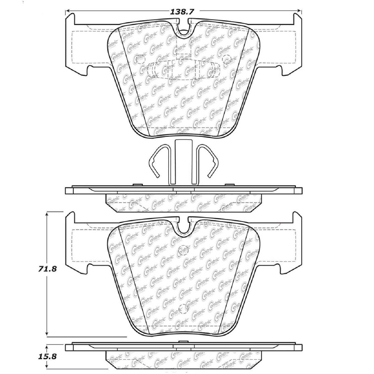 Centric Parts Brake Pads Front Rear For 2008-2013 Mercedes