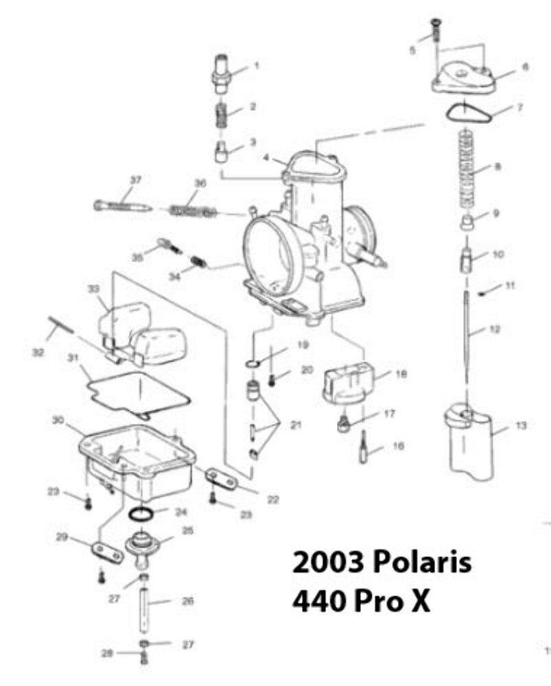 Polaris Pro X Fan 440 Snowmobile TMX34 Carburetor Rebuild