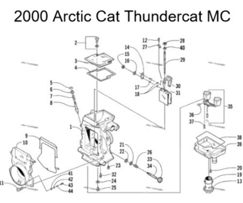Arctic Cat Snowmobile 1000cc TM38-C289 Carburetor Rebuild