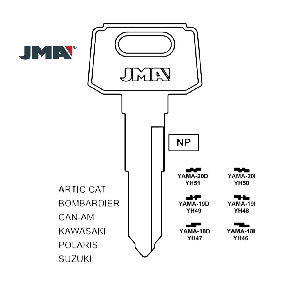 JMA Replacement Uncut Key Blank for Yamaha Motorcycle YH49