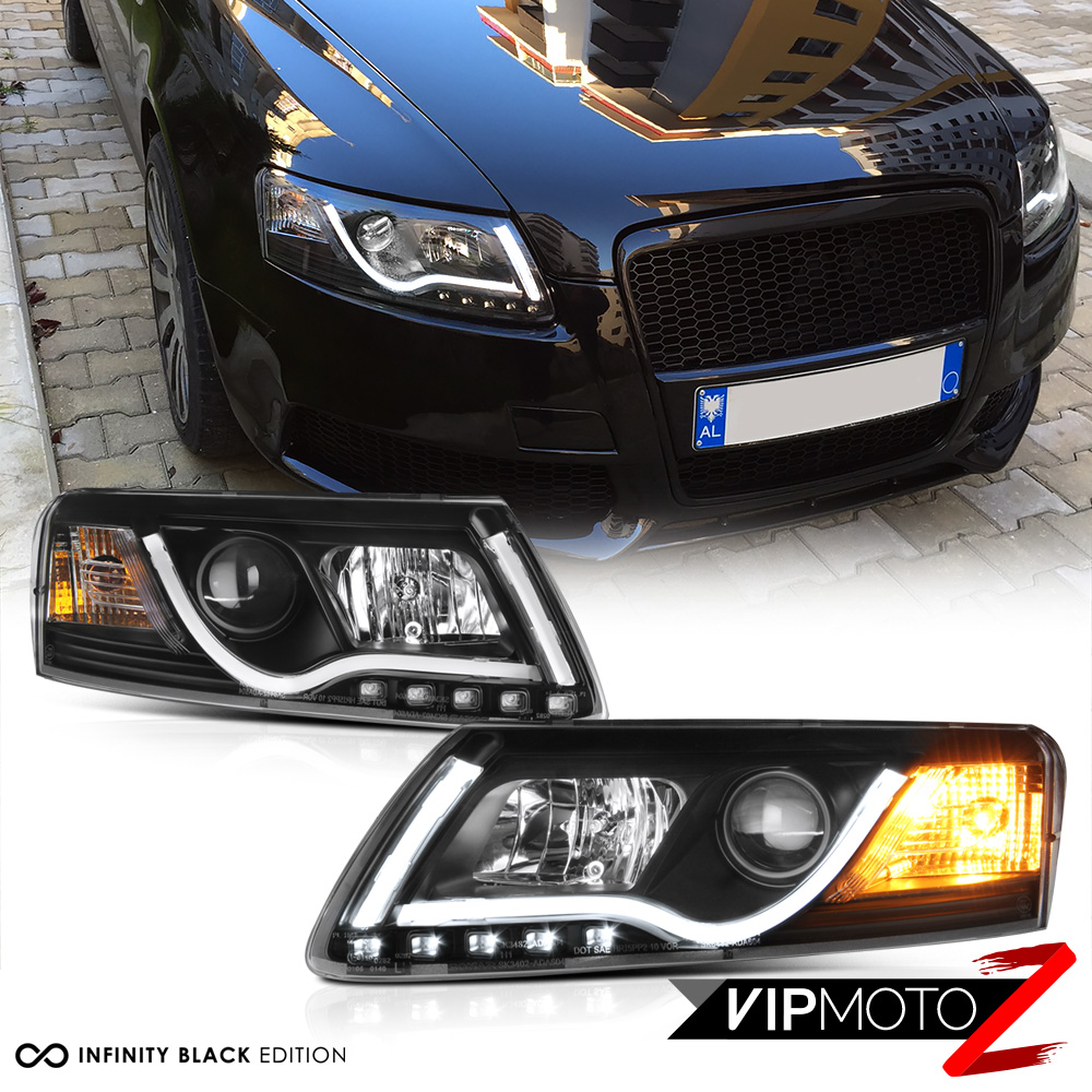 medium resolution of details about 05 08 audi a6 black projector headlight lamp led smd daytime driving lamps pair