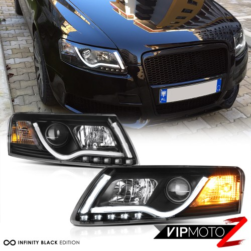small resolution of details about 05 08 audi a6 black projector headlight lamp led smd daytime driving lamps pair