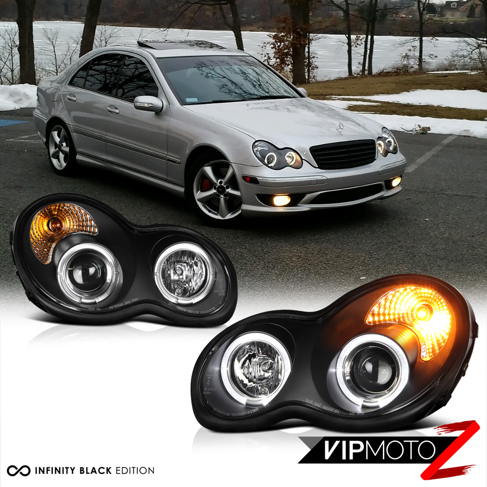 medium resolution of details about 01 07 mb w203 c class c230 c240 c280 c320 c350 black halo projector headlight
