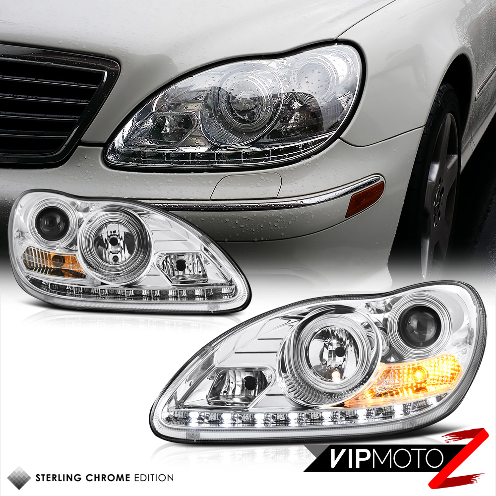 medium resolution of details about 2000 06 w220 s class s500 s430 euro chrome projector led headlight h7 lamp lh rh