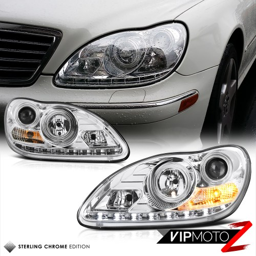 small resolution of details about 2000 06 w220 s class s500 s430 euro chrome projector led headlight h7 lamp lh rh