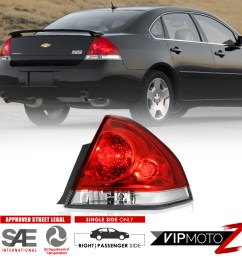 details about 06 13 chevy impala red clear passenger side replacement tail light brake lamp [ 1000 x 1000 Pixel ]