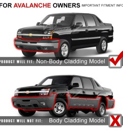 not compatible with avalanche with factory body cladding black door molding  [ 1000 x 1000 Pixel ]