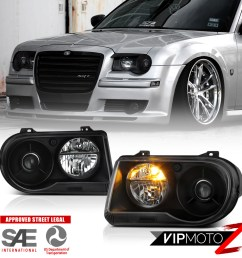 details about 2005 2010 chrysler 300c srt style black projector headlights assembly lh rh [ 1000 x 1000 Pixel ]