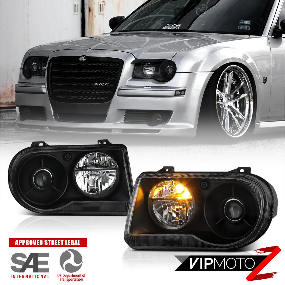 medium resolution of details about 2005 2010 chrysler 300c srt style black projector headlights assembly lh rh