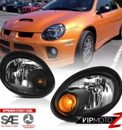 details about 2003 2004 2005 dodge neon srt style black front headlights headlamps assembly [ 1000 x 1000 Pixel ]