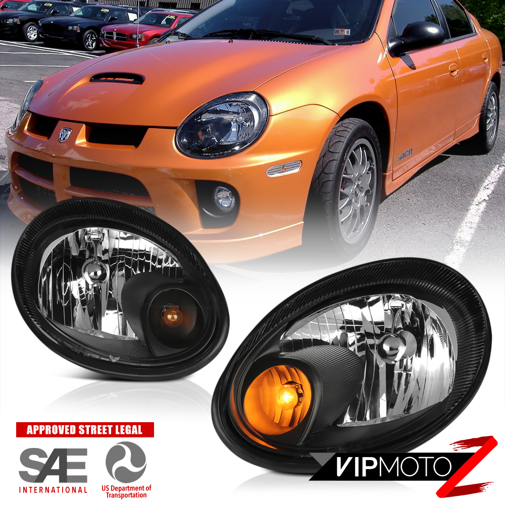 hight resolution of details about 2003 2004 2005 dodge neon srt style black front headlights headlamps assembly