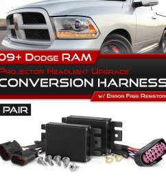 details about 09 18 ram 1500 2500 3500 non projector headlight lamp upgrade wiring harness set [ 1000 x 1000 Pixel ]