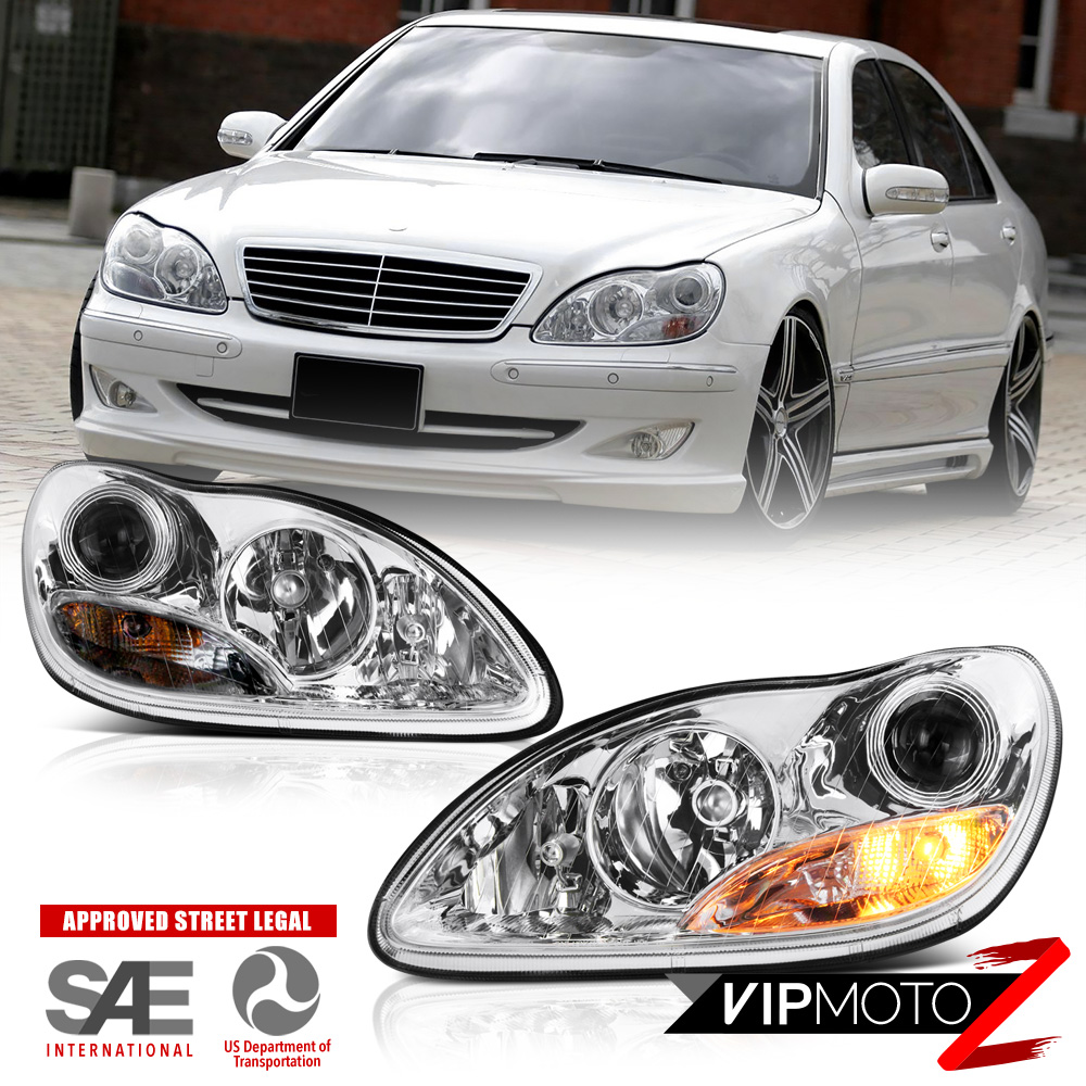 medium resolution of 2000 2006 mercedes benz w220 s430 s500 projector headlights left right assembly