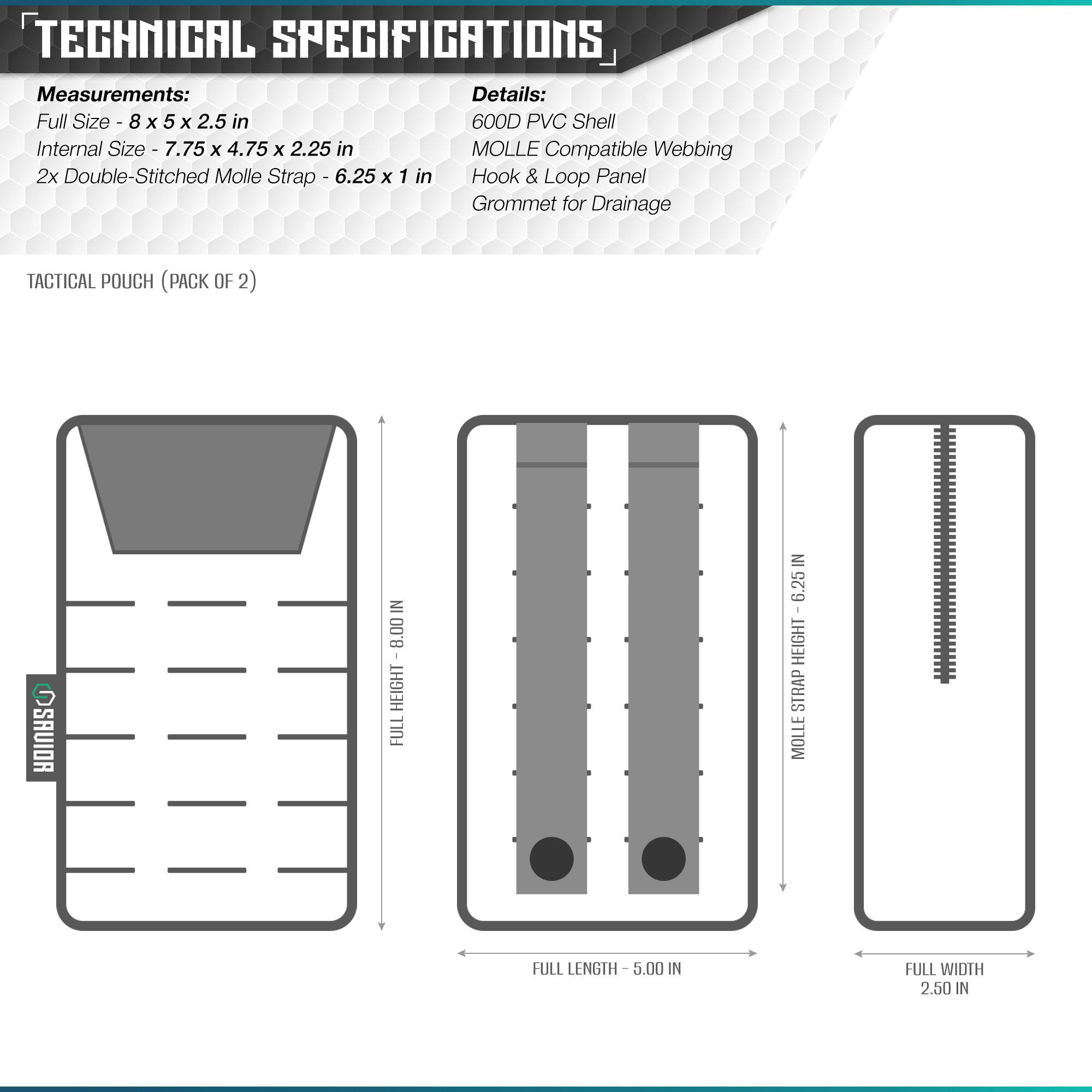 [2PACK] Tactical Laser-Cut Molle Multi-Purpose Pouch Bag
