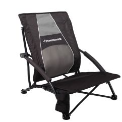 Strong Back Chairs Office Chair With Adjustable Arms Strongback Low Gravity Beach Black And Grey Ebay