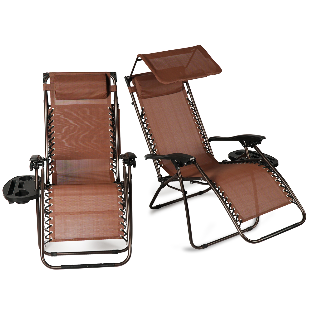 patio folding chair covers for protection 2 pcs zero gravity lounge w canopy cup holder chairs brown
