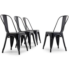 High Back Metal Dining Chairs Chair Scandinavian Design Set Of 4 Vintage Style Stackable Steel