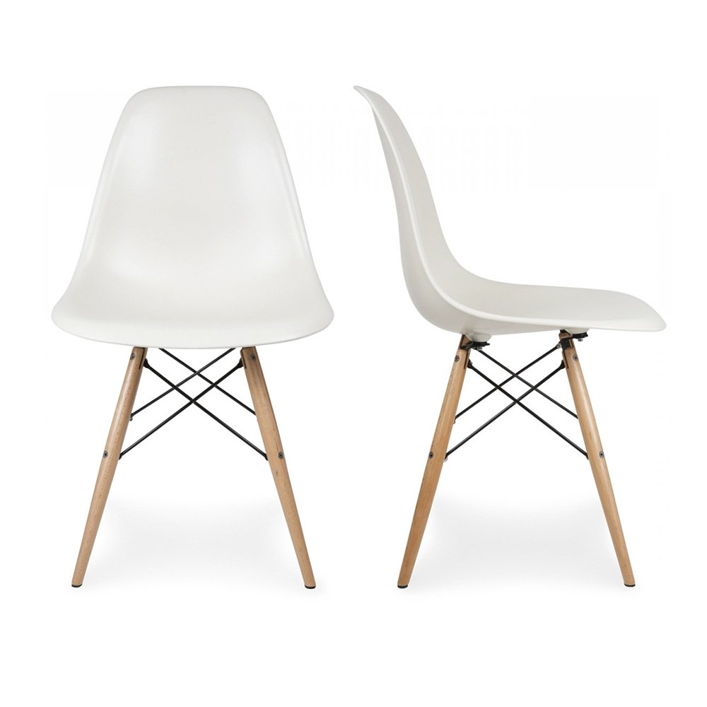 eames chair white wicker seat cushion covers 2 armless plastic molded side dining chairs modern with natural wood legs