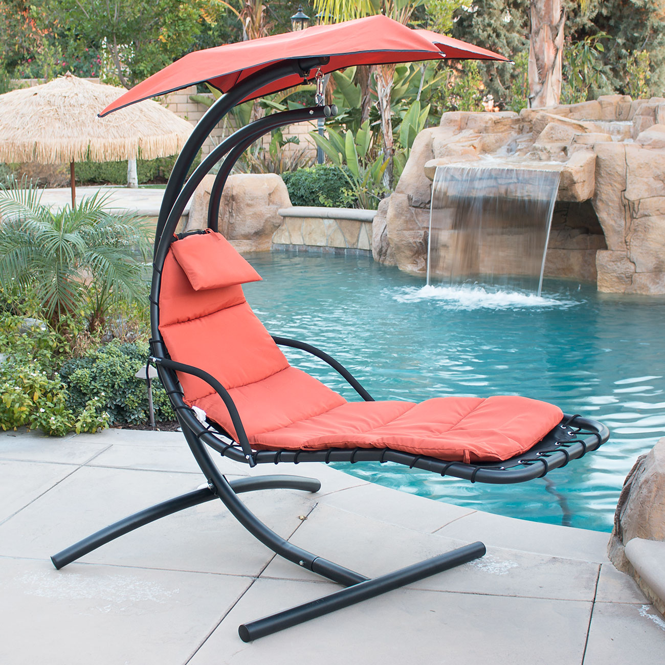 hammock chair with canopy grey bedroom next hanging chaise lounger arc stand air porch swing