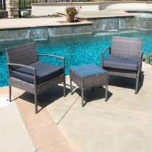 3 Pcs Outdoor Rattan Wicker Patio Chat Chairs & Table