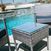 Outdoor Wicker Cushioned Patio Set 3 PCs