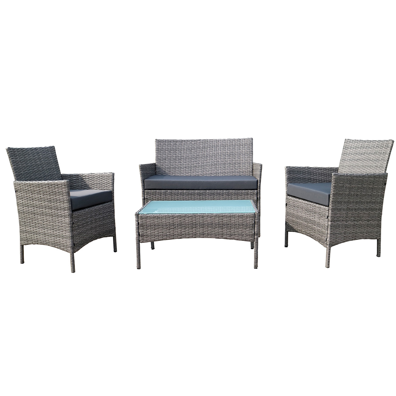 cushion sofa set sure fit stretch pique t two piece slipcover 4 pc rattan furniture outdoor patio garden sectional