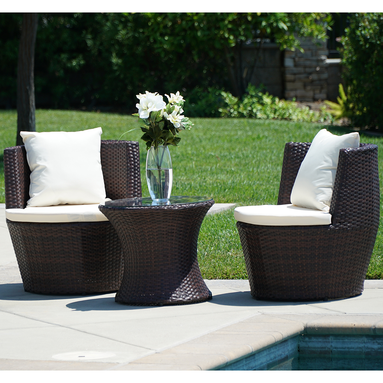 Wicker Circle Chair 3 Pc Patio Outdoor Rattan Set Wicker Furniture Glass