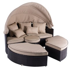 Canopy Daybed Outdoor Wicker Sun Sofa Lounge Small 2 Pc Sectional Patio In 1 Rattan Set Round Sunbed W