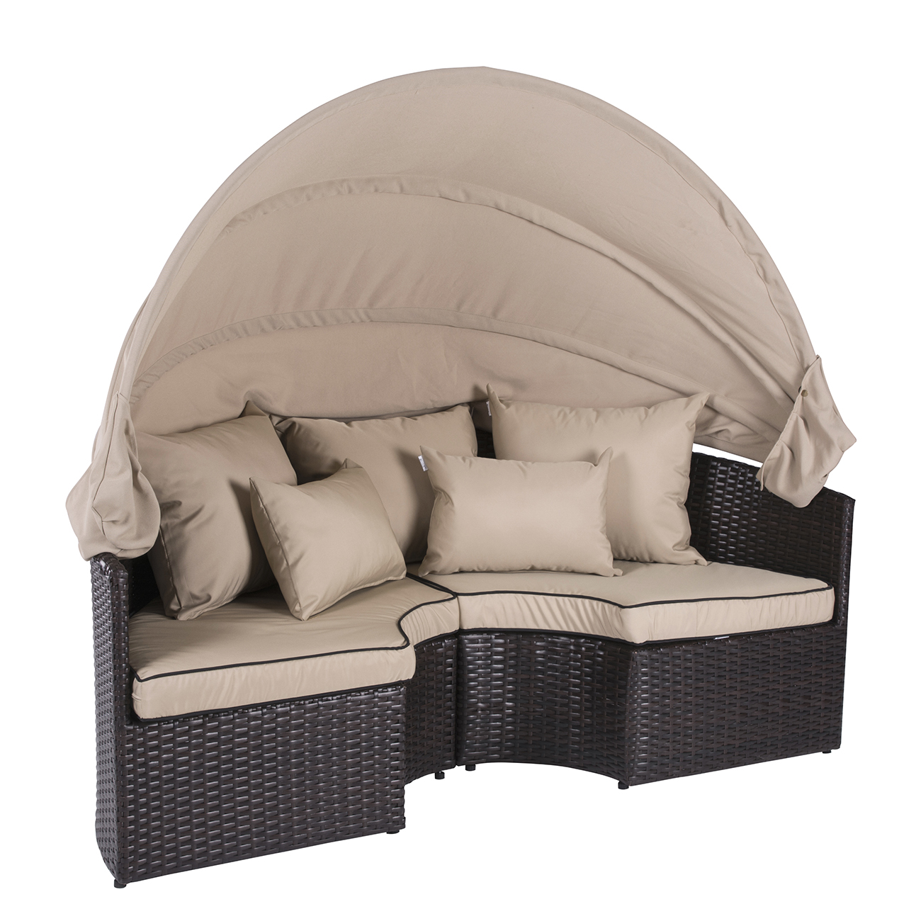 canopy daybed outdoor wicker sun sofa lounge sofas blue patio 2 in 1 rattan set round sunbed w